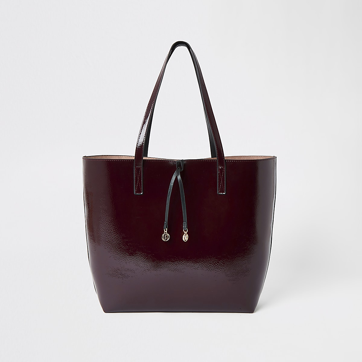 Dark red vinyl shopper tote bag