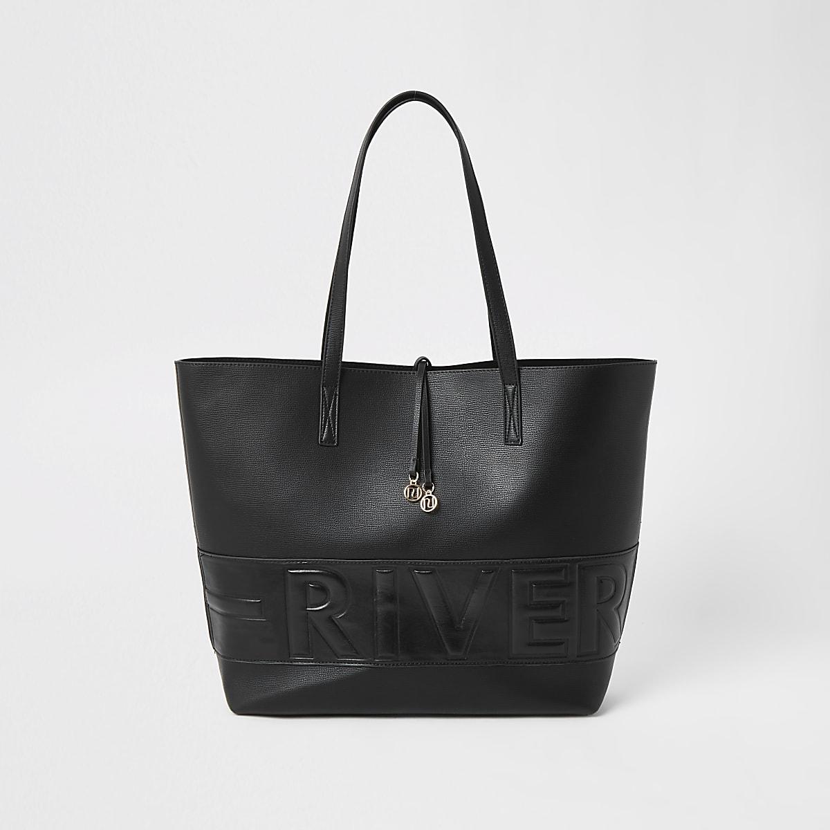 Zwarte shopper met River in reliëf