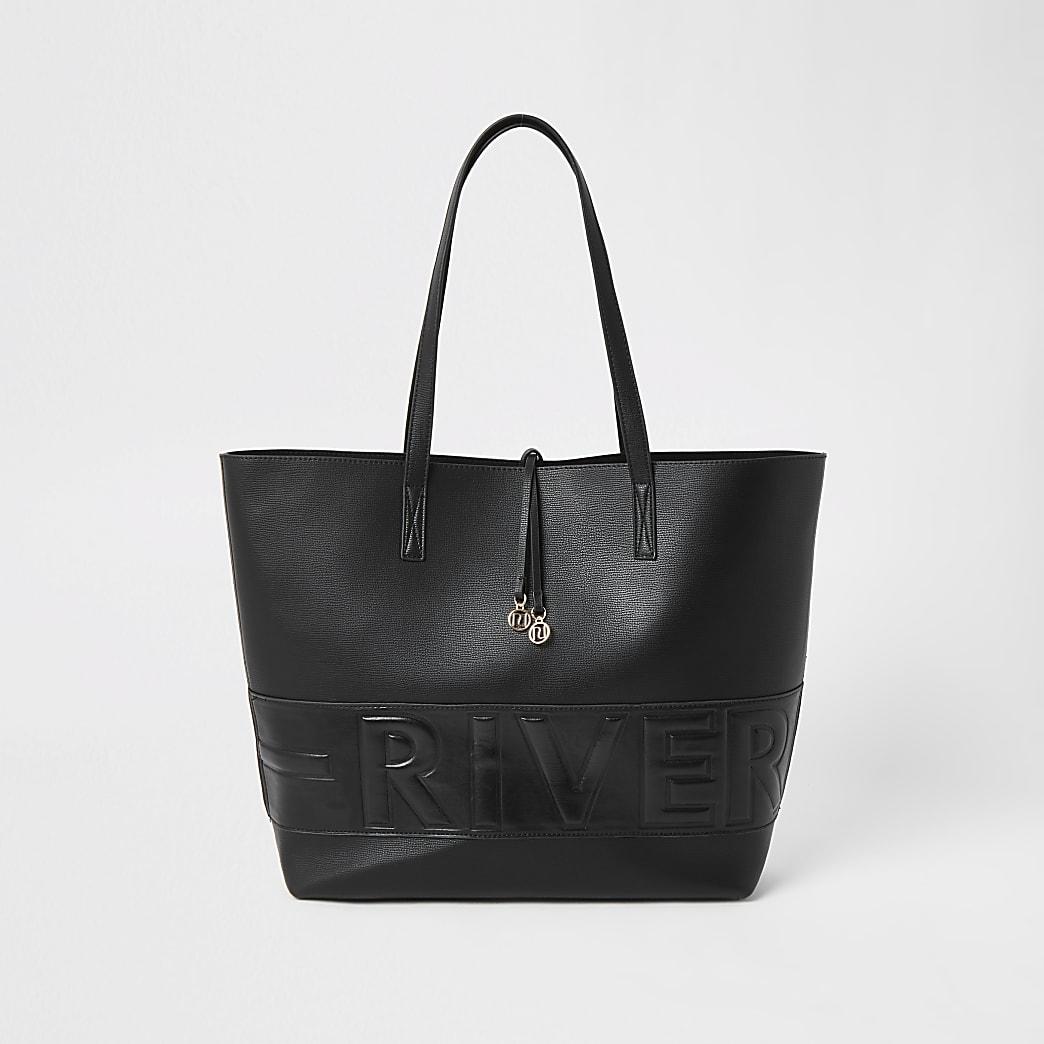 Black 'River' embossed shopper bag