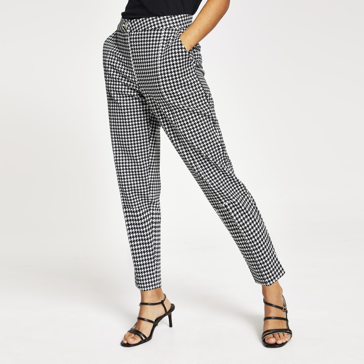 Petite dogstooth check cigarette trousers