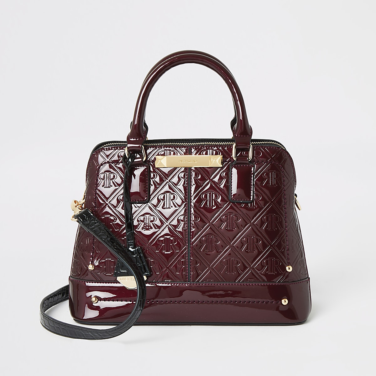 Red RI embossed cross body bag