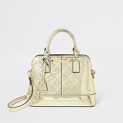 Gold RI monogram tote cross body bag