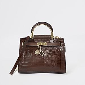 Braune Tote Bag mit Krokoprägung