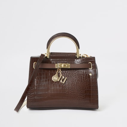 Brown croc embossed strap tote bag