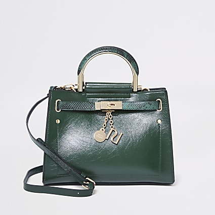 Green cross body tote bag
