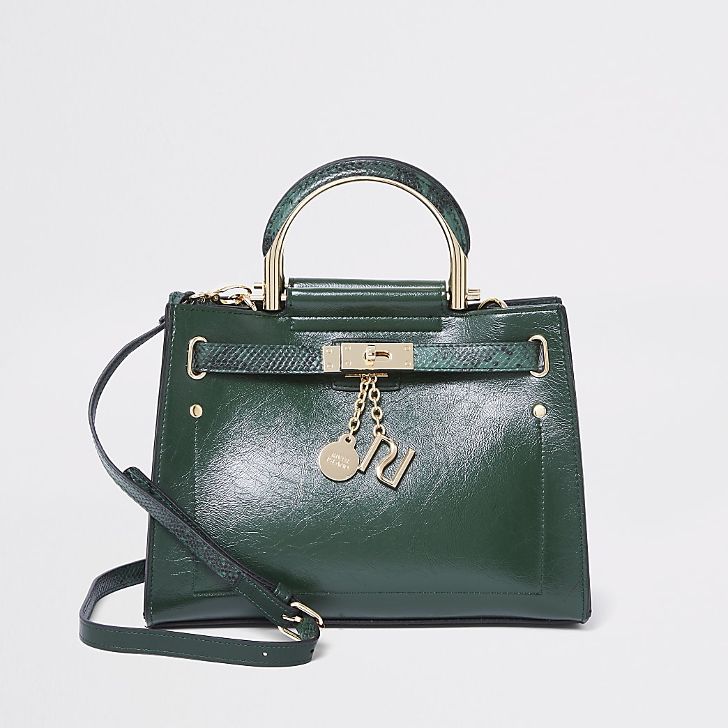 Green cross body tote bag