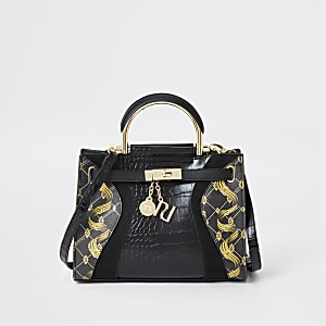 Black print small tote