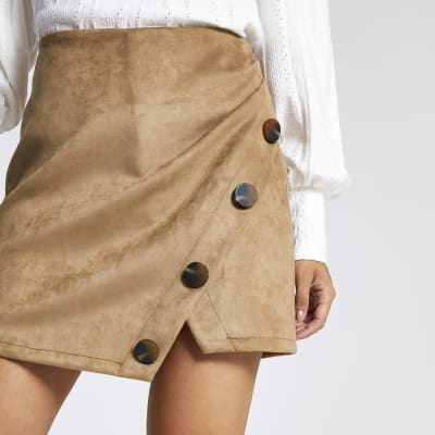 Petite Tan Faux Suede Mini Skirt by River Island