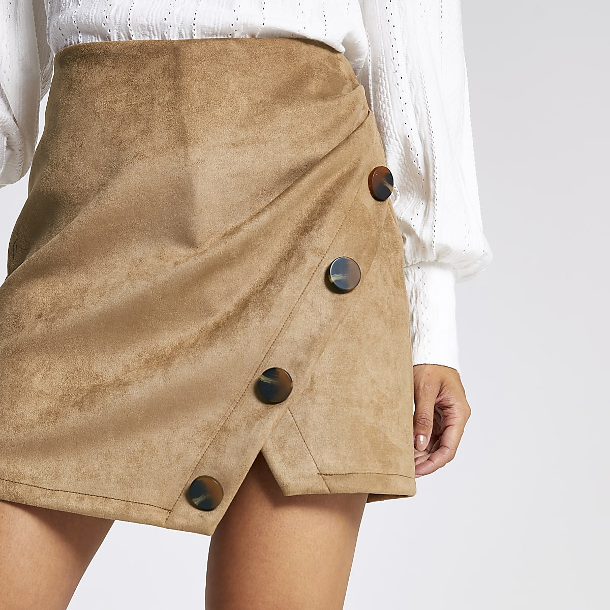 Petite tan faux suede mini skirt