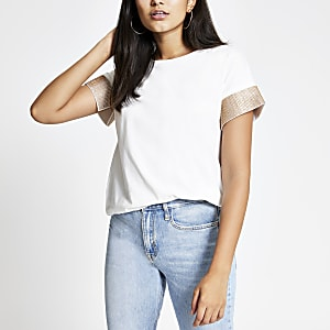 White embellished cuff short sleeve T-shirt
