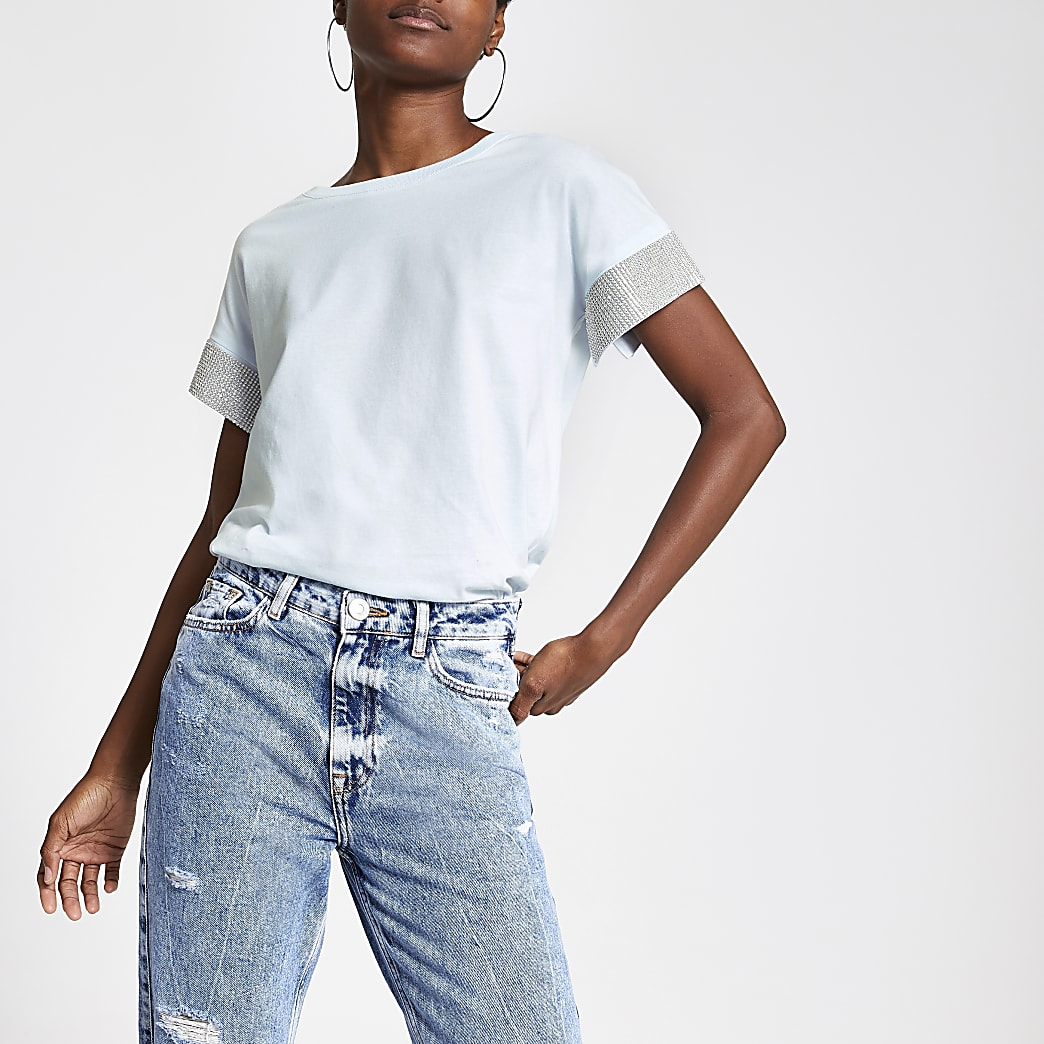 Blue embellished cuff short sleeve T-shirt