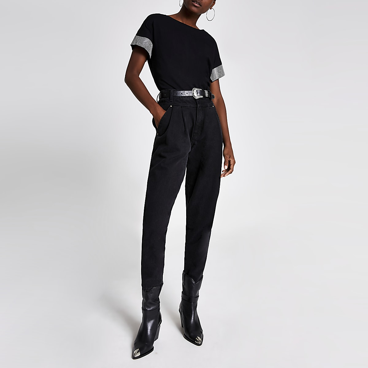 Black embellished cuff short sleeve T-shirt