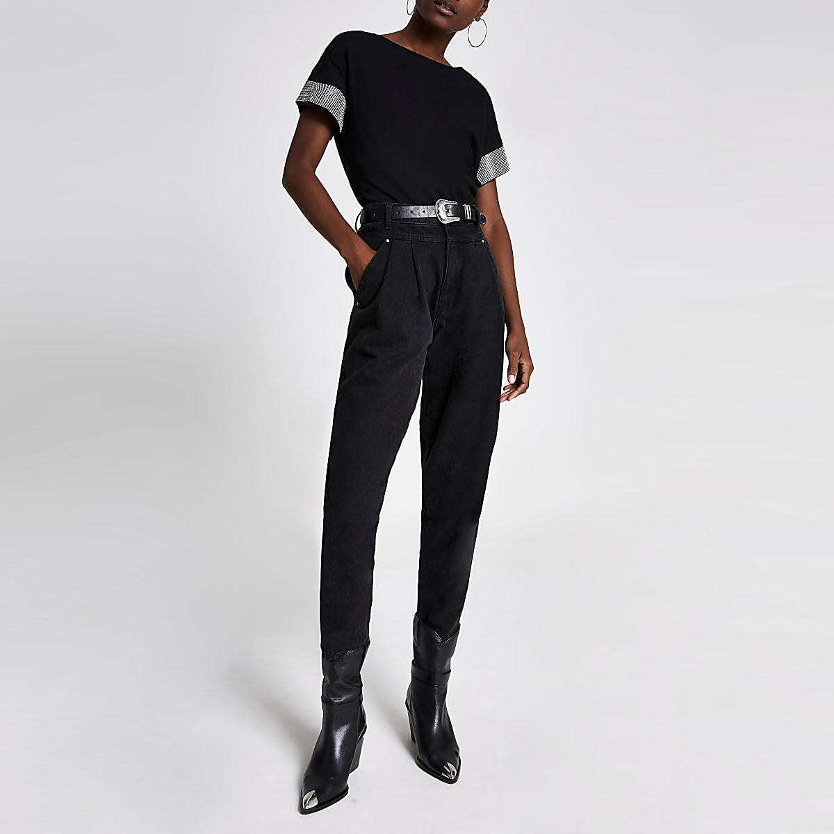 Zwart T-shirt met korte mouwen met sierrand