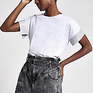 Grey short sleeved embellished cuff T-shirt