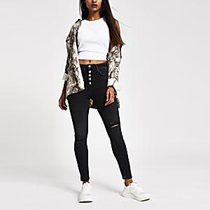 Petite black Hailey high rise skinny jeans