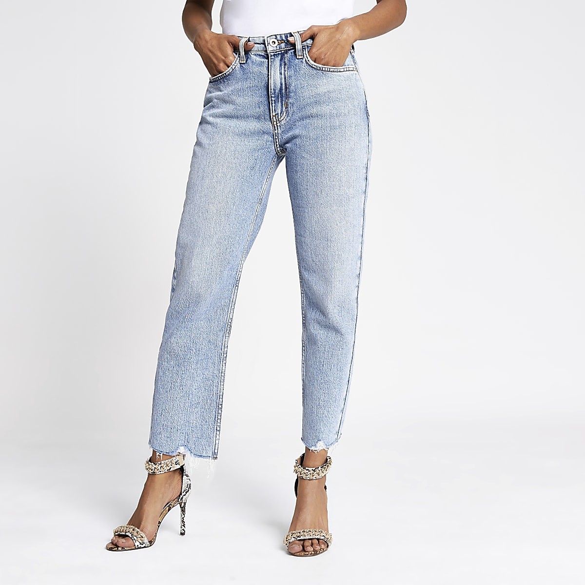 Petite light blue straight leg jeans