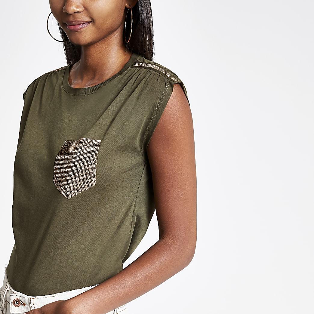 Khaki embellished tank top