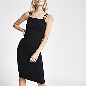 Petite black ribbed midi dress