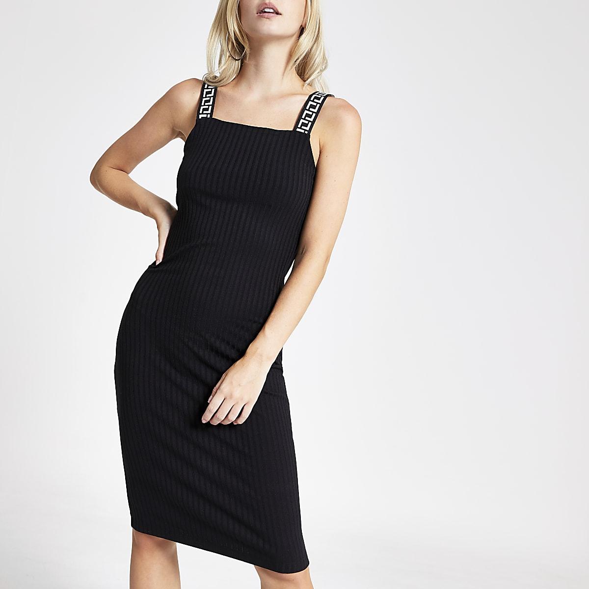 Petite black ribbed midi dress