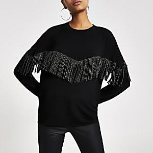 Zwart sweatshirt met stras en franjes
