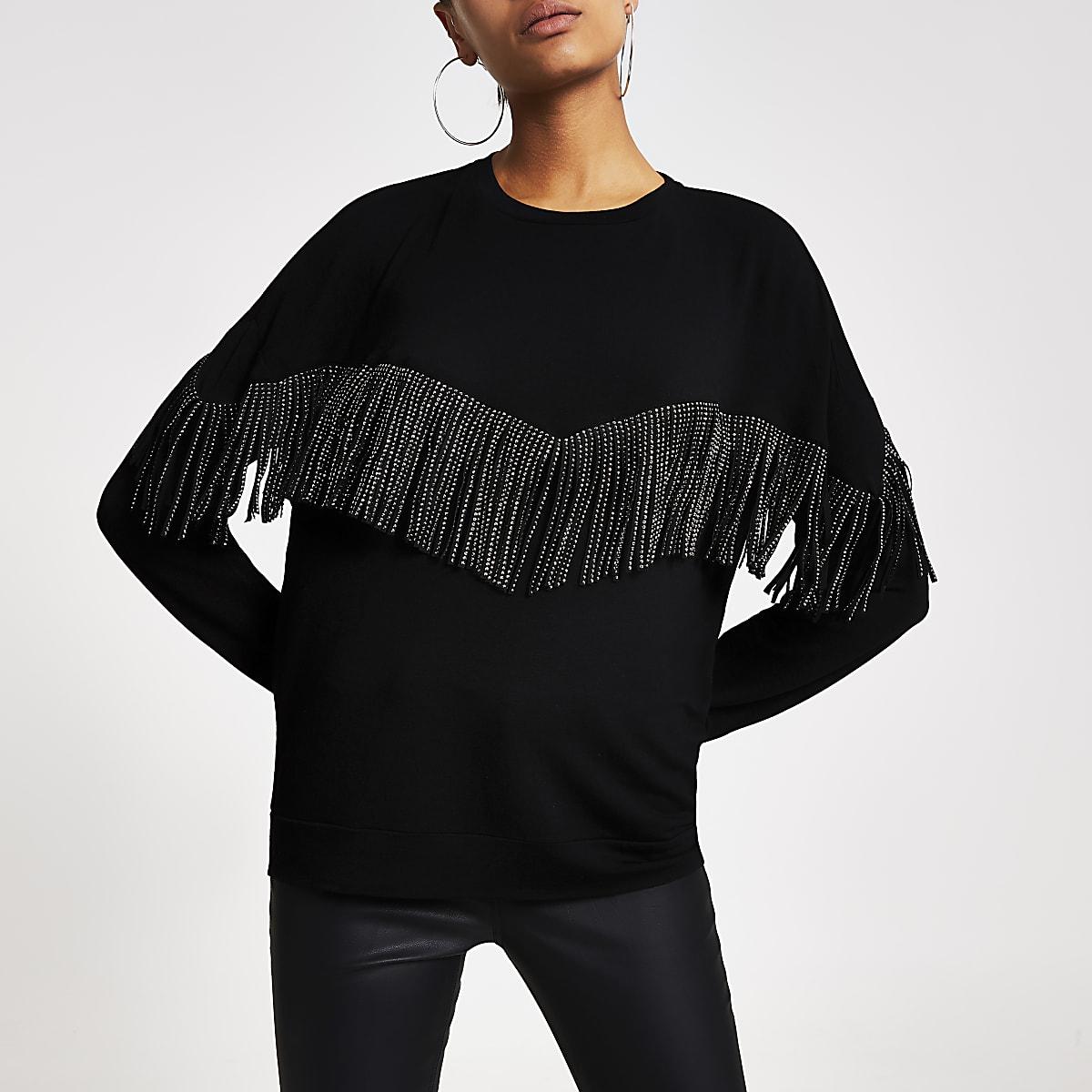 Pull noir à franges ornées de strass