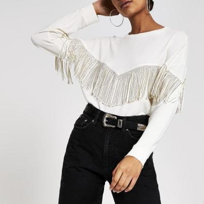 Cream fringe print western sweatshirt