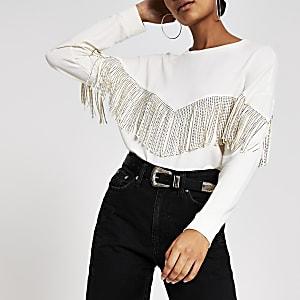 Crème western sweatshirt met franje en print