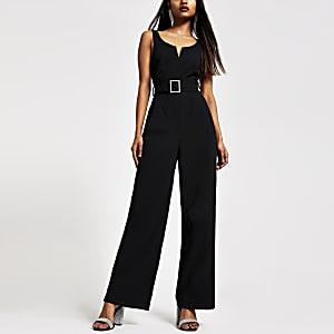 Petite black belted jumpsuit