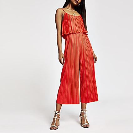 Petite red plisse sleeveless jumpsuit