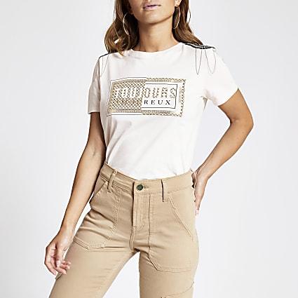 Petite beige shoulder embellished T-shirt