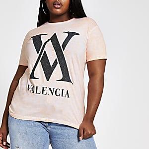 RI Plus - Oranje tie-dye T-shirt met 'Valencia'-print