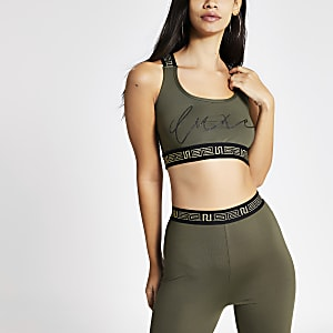 Khaki 'Luxe' print crop top