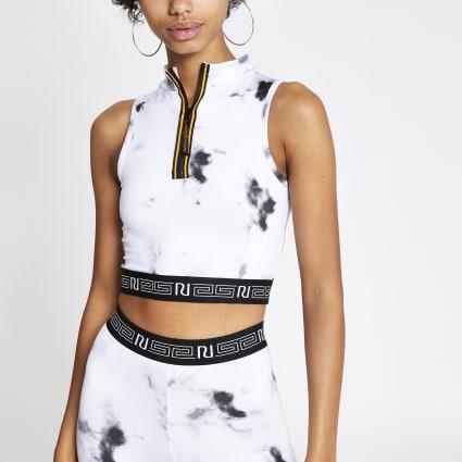 Grey marble print high zip neck crop top