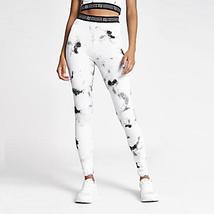 Grey marble print leggings