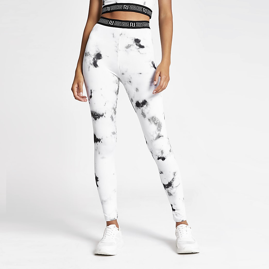 Grey marble print leggings