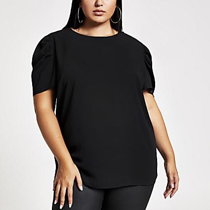Plus black embellished top