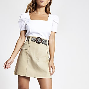 Petite beige belted mini utility skirt