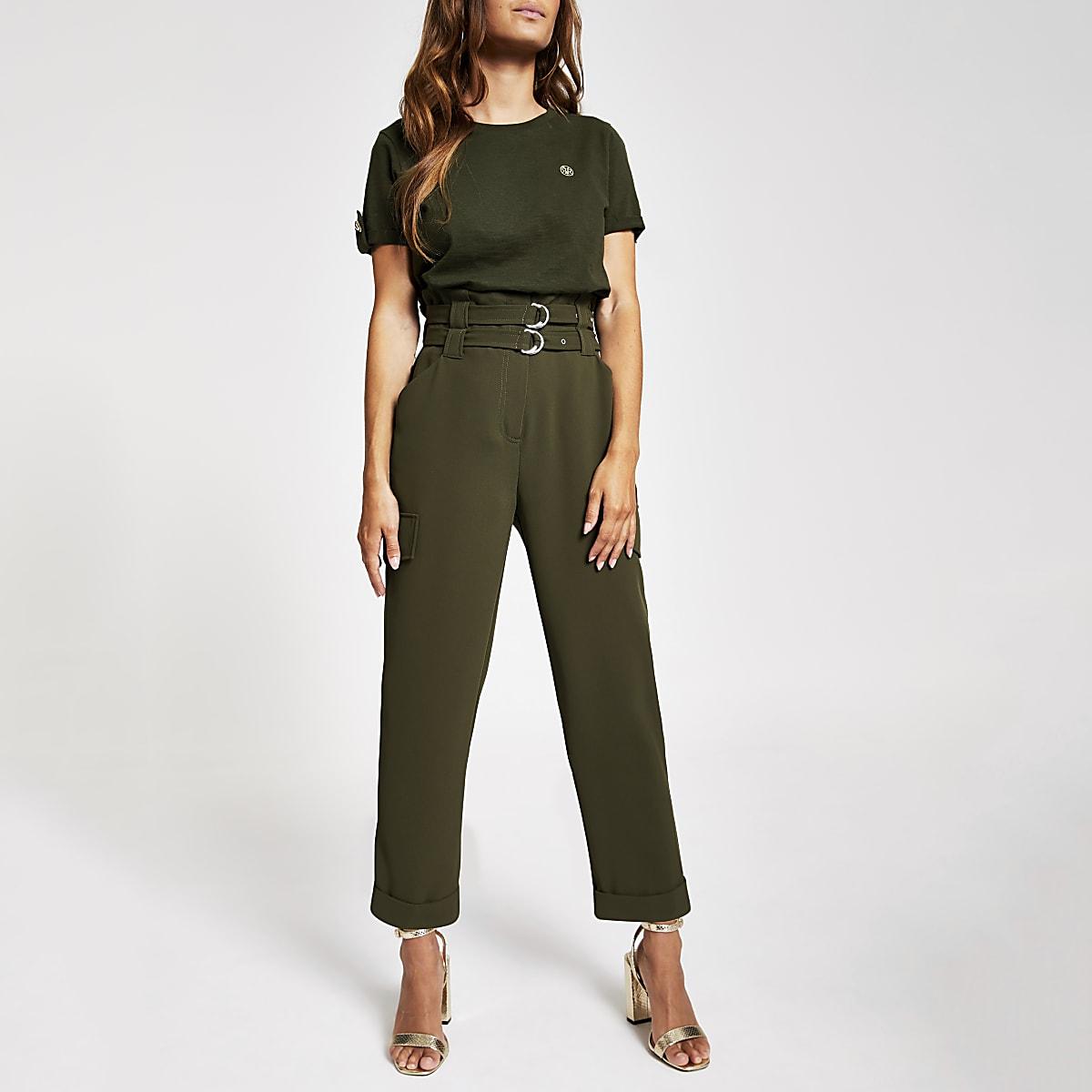 Petite khaki utility trousers