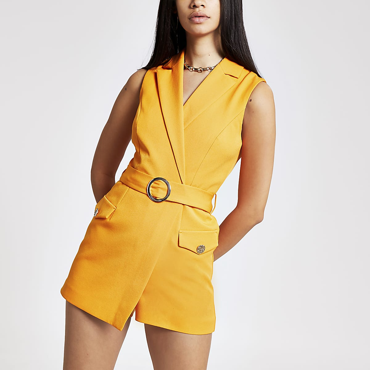 Oranje nette playsuit