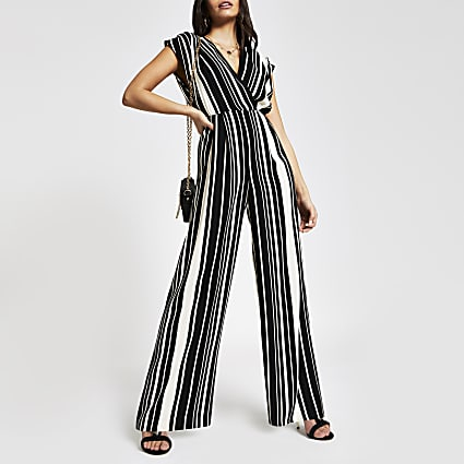 Black stripe wide leg jumpsuit