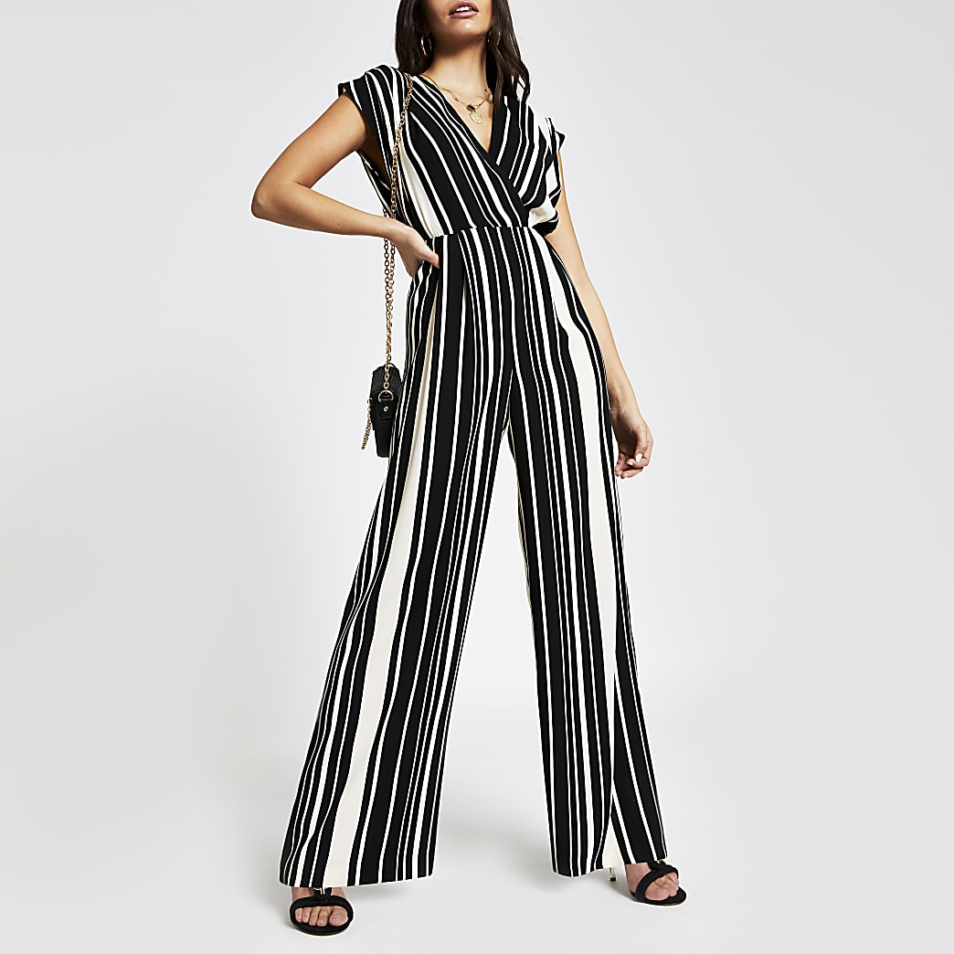 Black stripe wide leg jumpsuit