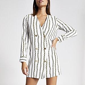 Robe habillée évasée imprimé chaîne blanche