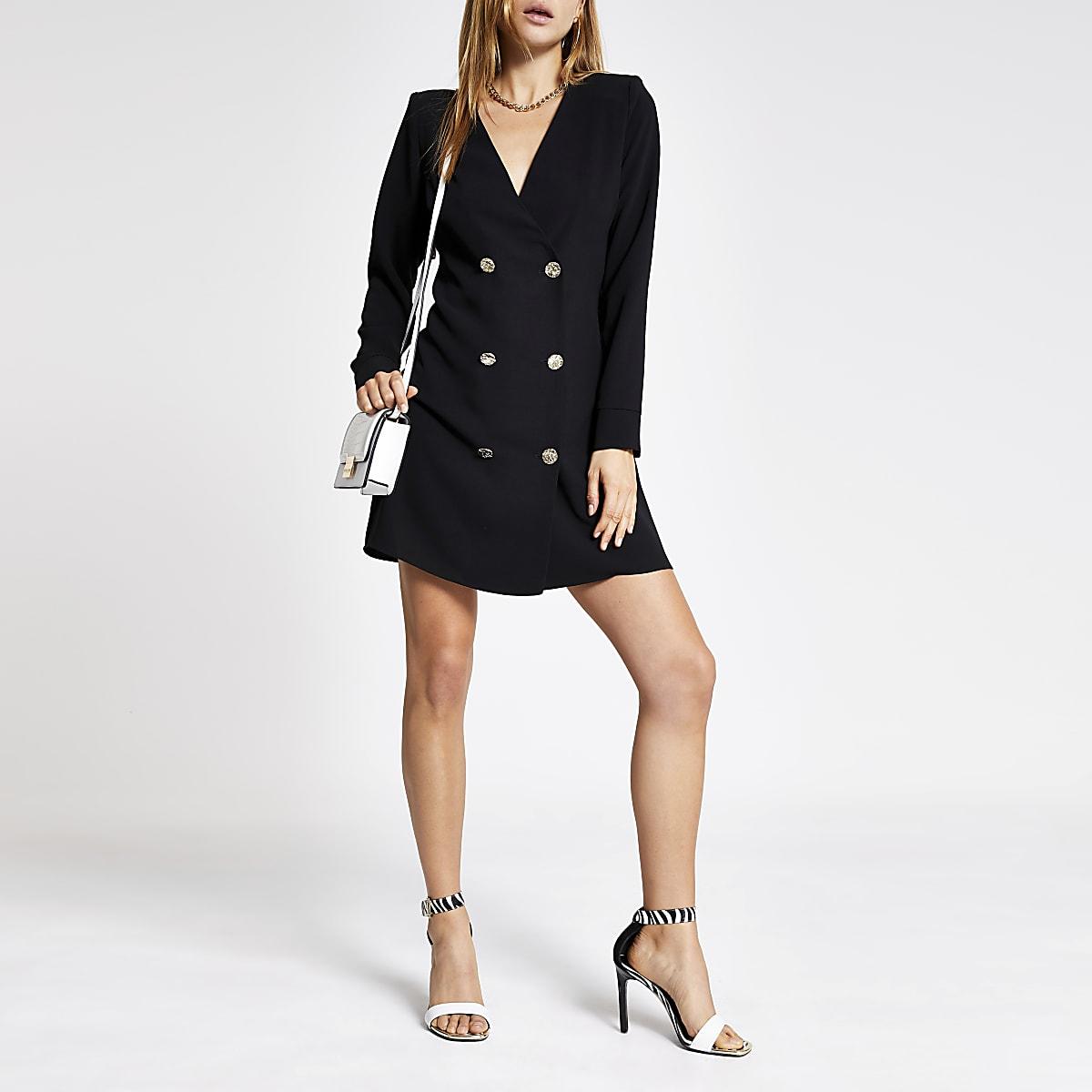 Black swing tux dress