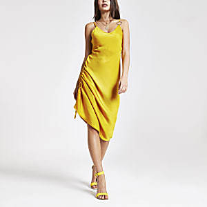 Yellow ruched side slip dress