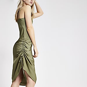 Kaki midi-slipdress met ruches