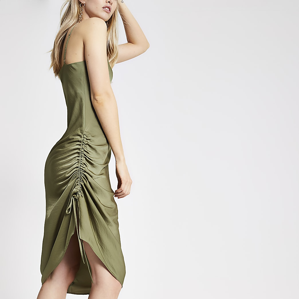 Khaki ruched slip midi dress