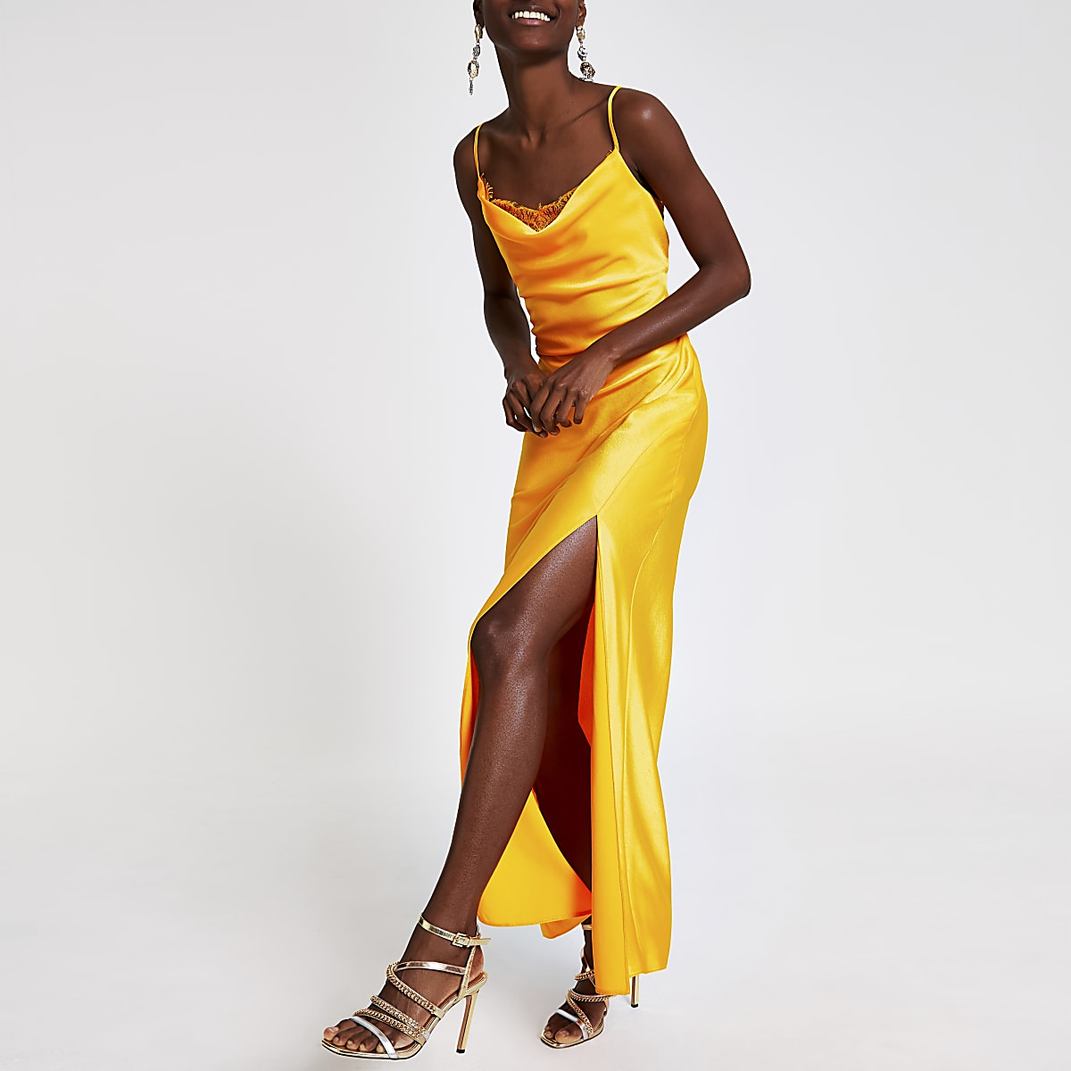 Orange cowl neck slip maxi dress