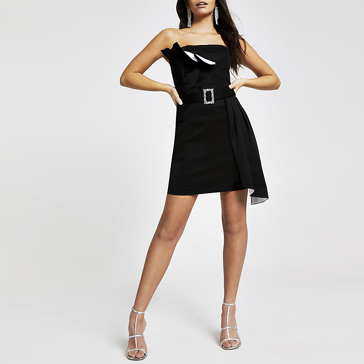 Black frill belted bodycon dress