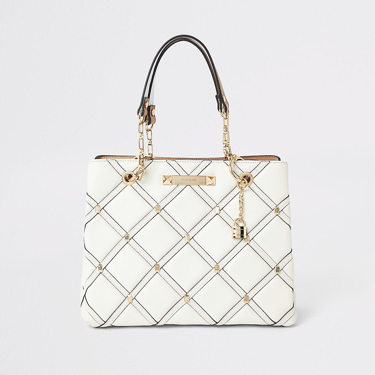 Crème gewatteerde handtas met studs