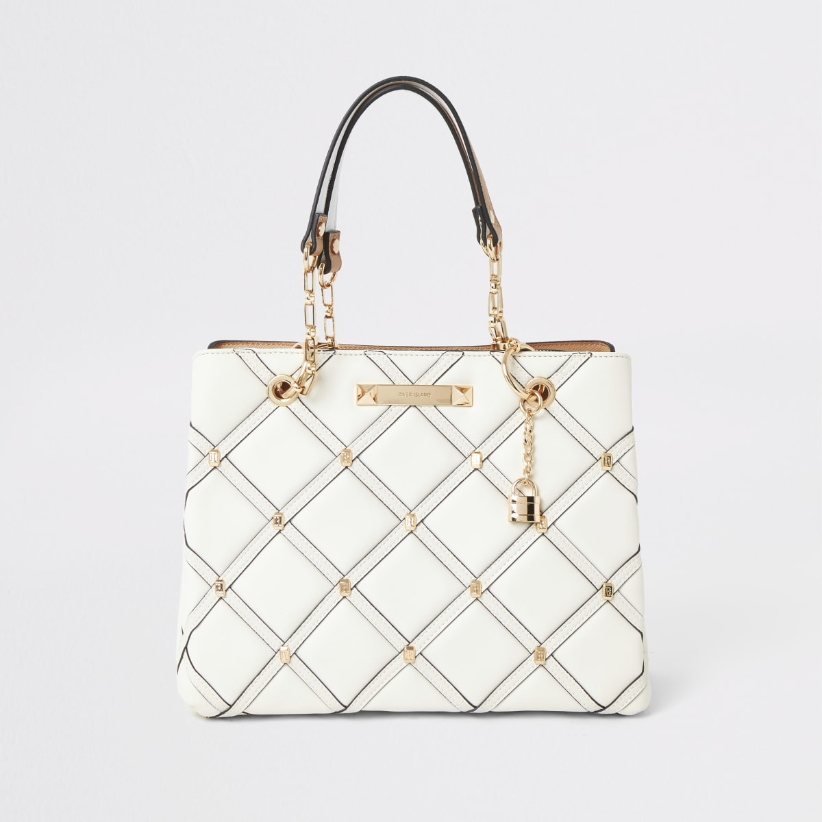 Cream quilted studded tote bag